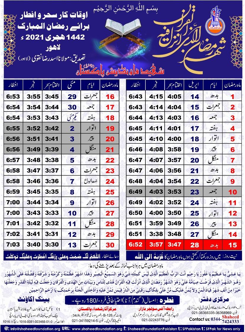 Ramzan Timing Lahore 2021